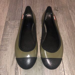 Hunter two tone rain shoes ballet flats size US 10
